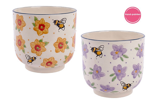 Yellow Floral and Bee Ceramic Planter