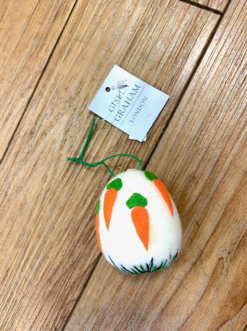 Gisela Graham Easter Felted Egg Hanging Decoration - Carrots