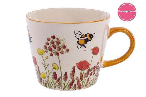 Ceramic Mug with Bees and Flowers