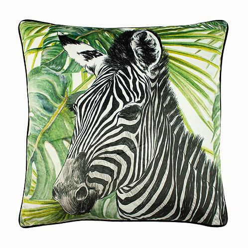Jungle Zebra Green Square Cushion by Riva Home 50x50cm