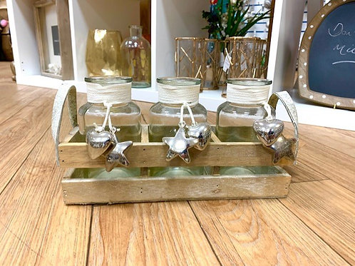 Hill Interiors Set of 3 Decorative Bottles in a Wooden Crate