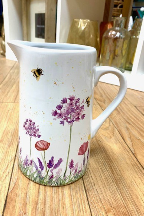 Langs Ceramic White Glazed Bee and Flowers Milk Water Jug/Vase
