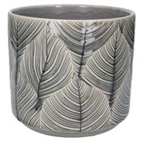 Gisela Graham Grey Leaf Ceramic Planter