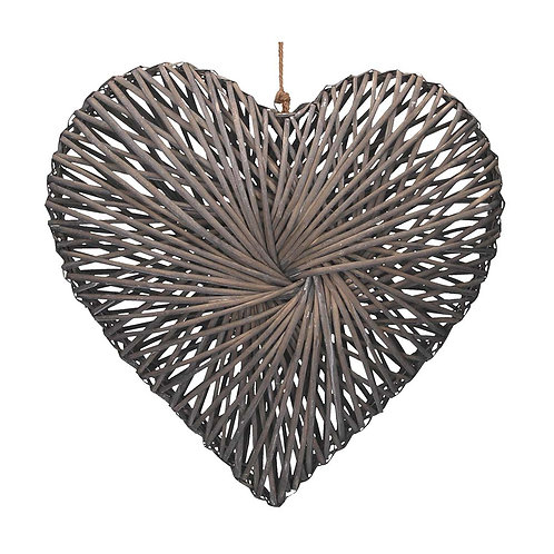 Grey Woven Willow Heart - Large