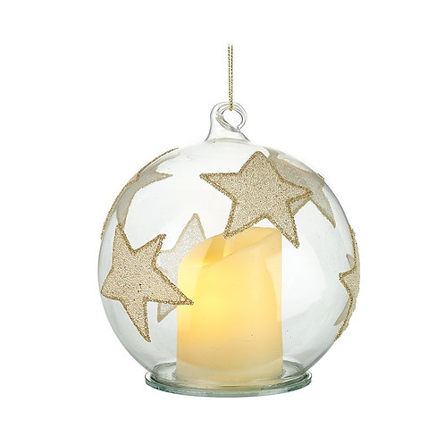 Glass Baublewith LED Candle and Stars