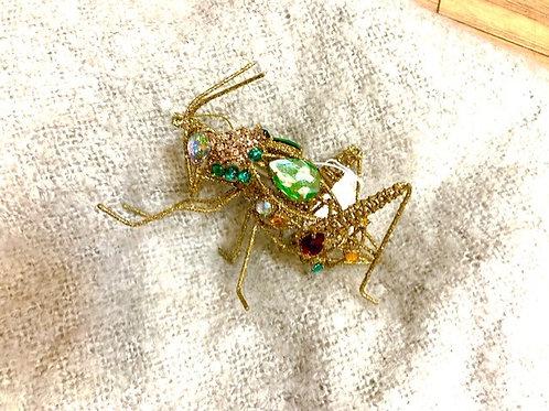 Gisela Graham Gold Wire Grasshopper Multicoloured