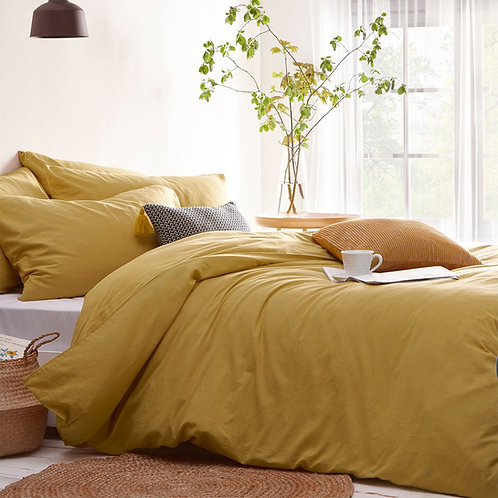 The Linen Yard Stonehouse Ochre Duvet Set - King