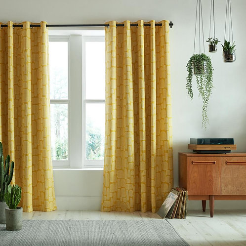"MissPrint Little Trees Yellow Ready Made Luxury Eyelet Curtains 66""x90"""
