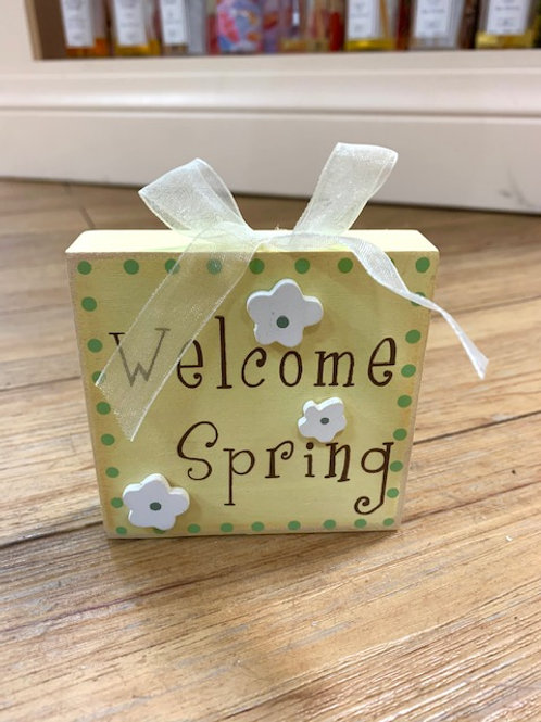 "Langs Wooden Block Easter Sign ""Welcome Spring"" 9cm"