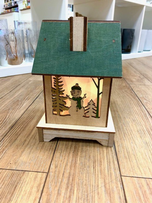 Hygge LED Lit Wooden Cabin with Snowman and Santa