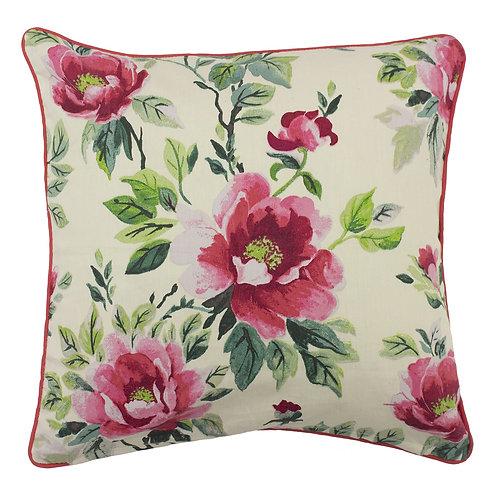 Peony Flower Cushion in Fuchsia 45cm x 45cm 50% Cotton 50% Polyester