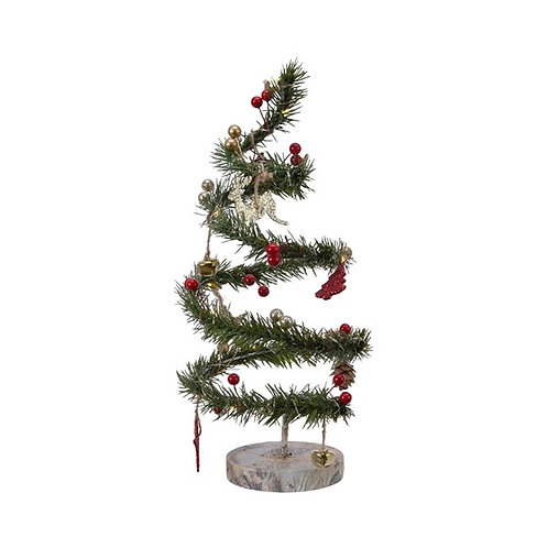 LED Lit Pine Tree with Pine Cones and Decorations