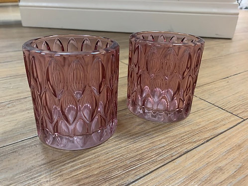 Light and Living Pink Glass Tealight Candle Holder