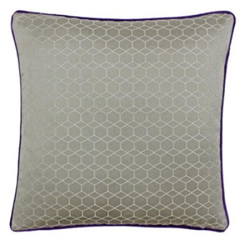 Balham Square Silver/Purple Cushion 45cm x 45cm