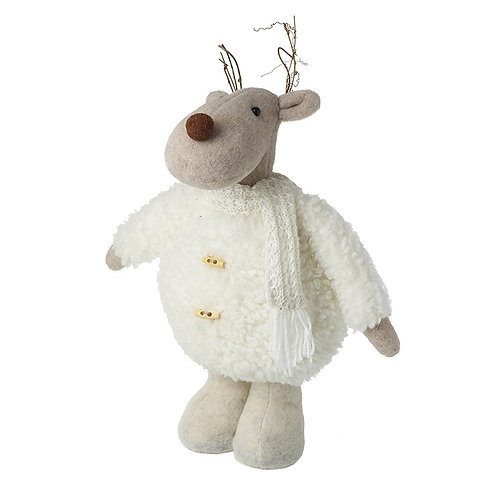 Woolly Standing Reindeer with Twig Antlers
