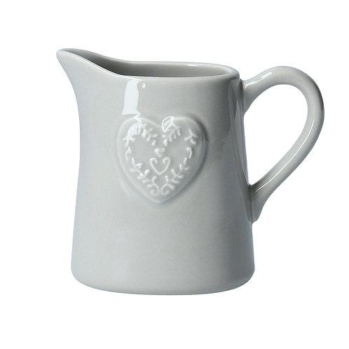 Grey Embossed Heart Ceramic Jug 10 cm