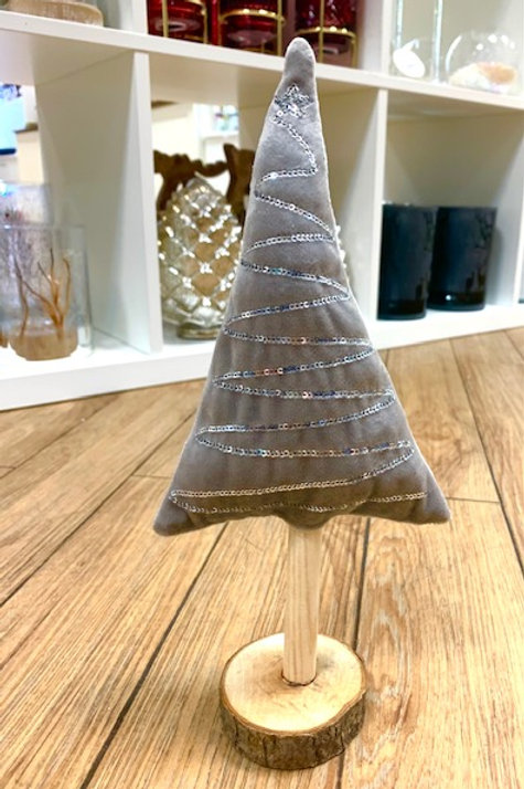 Hygge Nordic Grey Fabric Tree with Silver Sequins on Wooden Base