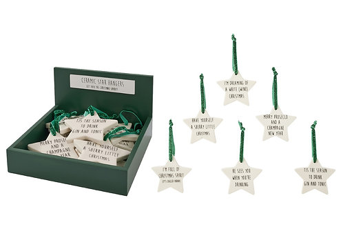 "Christmas Hanging Ceramic Star - ""Have Yourself a Sherry Little Christmas"""
