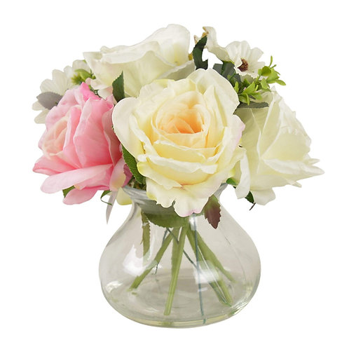 Posey of Roses and Daisies in Glass Vase