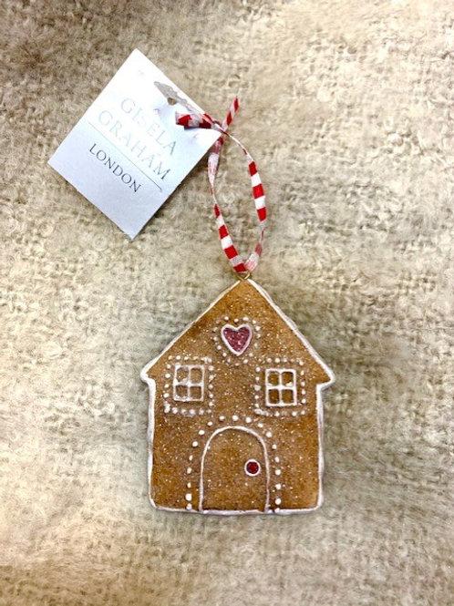 Gisela Graham Resin Gingerbread House Hanging Decoration