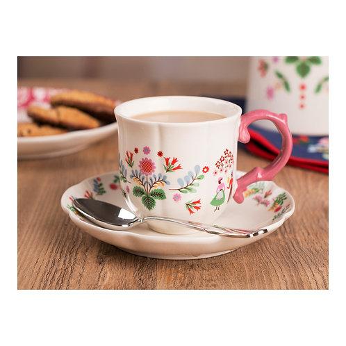 Katie Alice Festival Folk Breakfast Cup & Saucer