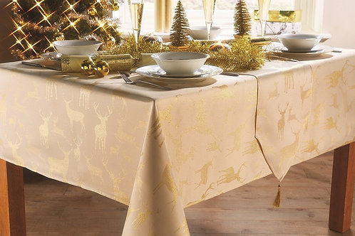 Stag Festive Pack of Four Napkins - Gold