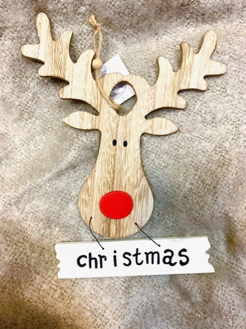 Hygge Rudolph Christmas Wooden Hanging Sign