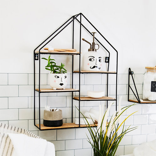 Sass and Belle Large Black House Shape Industrial Style Shelf