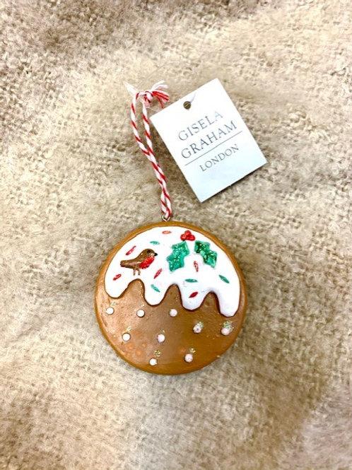 Gisela Graham Resin Gingerbread Christmas Pudding Hanging Decoration