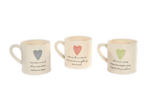Langs Heart 3D Mug - Grey - Live in the moment.........