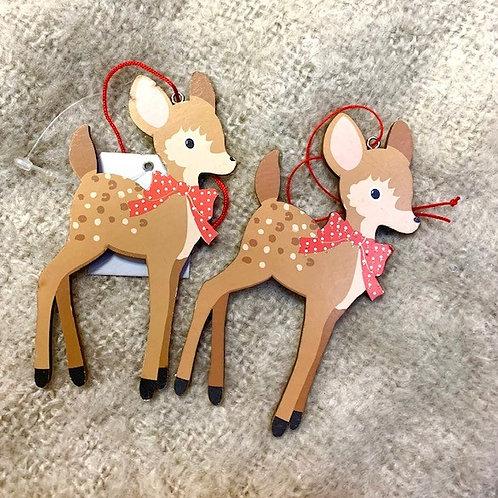 Gisela Graham Hygge Wooden Bambi Hanging Decorations