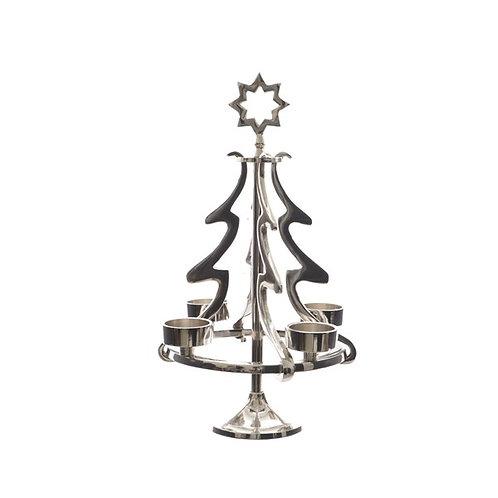 Polished Nickel Aluminium Tree with 4 Tealight Holders
