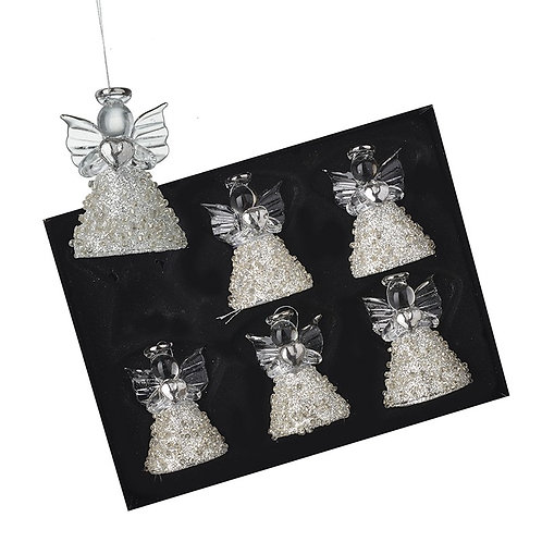 Set of 6 Glass Hanging Angels