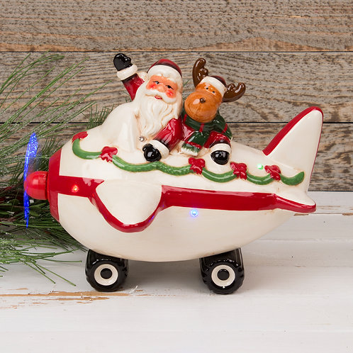 Ceramic Musical Santa in Plane Ornament with LED Lights