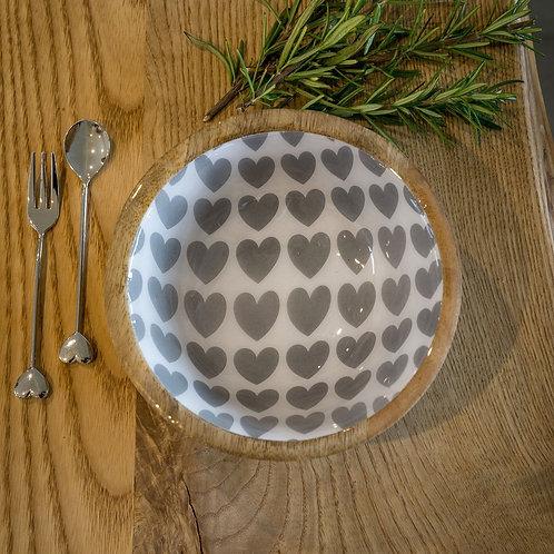Wooden Enamel Heart Bowl - Large