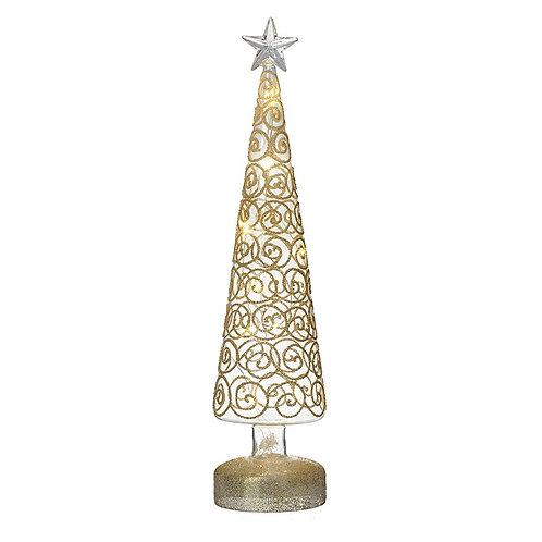 Light Up Glass Tree with Gold Swirls