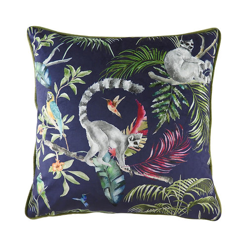 Jungle Lemur Piped Navy Blue Cushion by Riva Home 43x43cm
