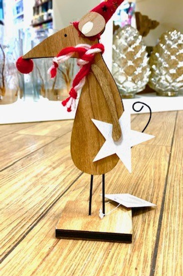 Heaven Sends Hygge Wooden Mouse with Scarf and Star