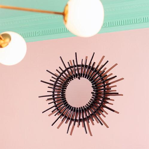 Bohemian Black Rattan Starburst Mirror - Handmade