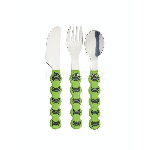 KitchenCraft Kids Three Piece Caterpillar Cutlery Set