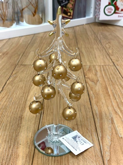 Glass Tree with Gold Baubles