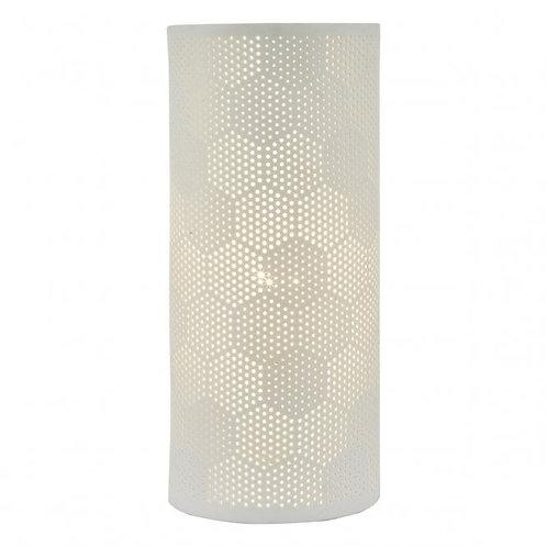 DAR Lighting Bryn Ceramic White Table Lamp