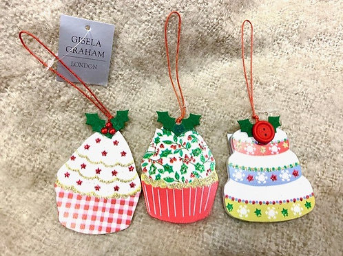 Gisela Graham Cupcake Hanging Decoration - Holly Topper