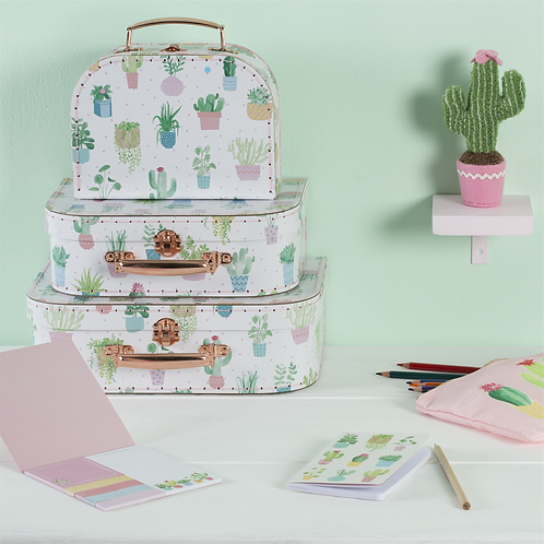 Sass & Belle Pastel Cactus Suitcases Set of 3