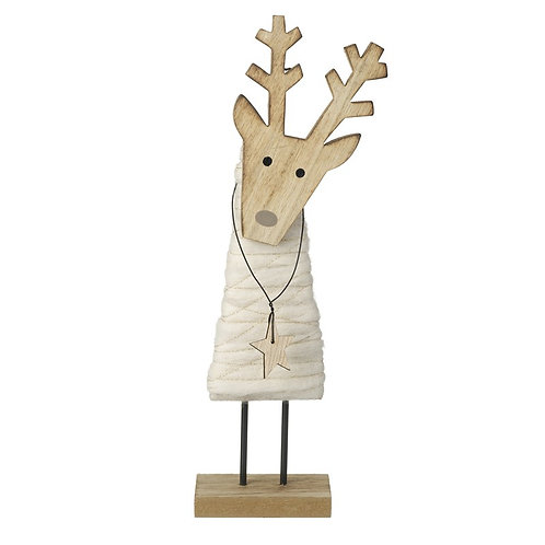 Hygge Scandi Wood Standing Reindeer with Wooden Star