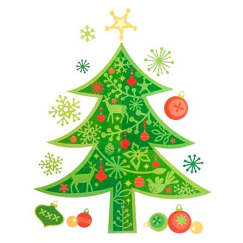 Green Christmas Tree with Baubles Frieze