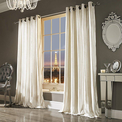 "Kylie Minogue Luxury Ready Made Curtains - Iliana - Oyster ""66x90"""