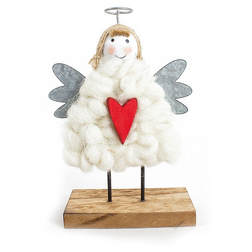 Hygge Standing Wool Angel with Wooden Base and Heart