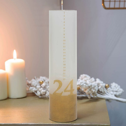 White & Gold Advent Countdown Candle - 26cm