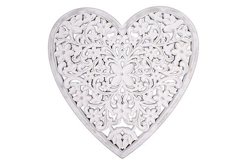 Carved Mango Wood White Wash Heart - Wall Hanging